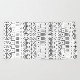 Mudcloth Style 1 in Black on White Beach Towel