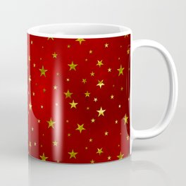 Golden Stars on Royal Red Coffee Mug