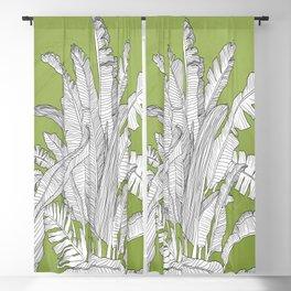 Banana Leaves Illustration - Green Blackout Curtain