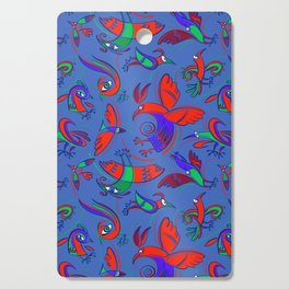 Pattern with Firebirds (on blue background) Cutting Board