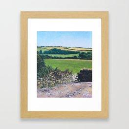 Colourful fields on a farm in Devon, UK Framed Art Print