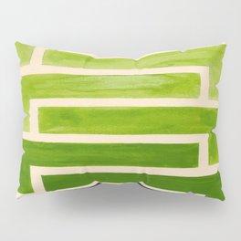 Sap Green Geometric Watercolor Painting Pillow Sham