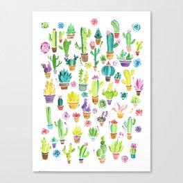 Happy Cactuses Canvas Print