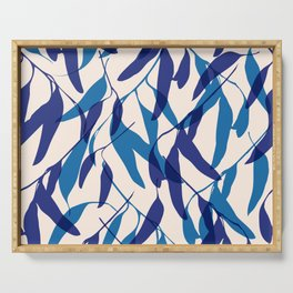 Gum leaves pattern in blue Serving Tray