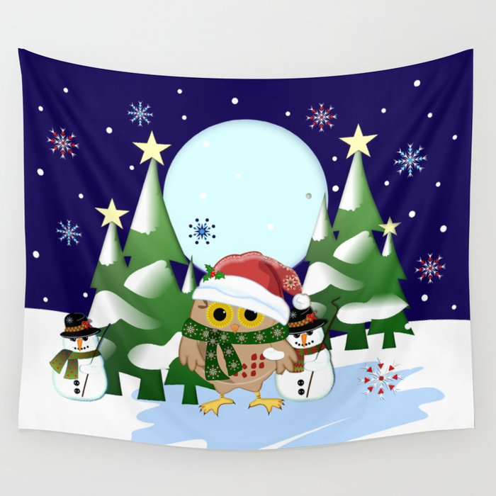 Santa Owl and his Snowman friend Wall Tapestry