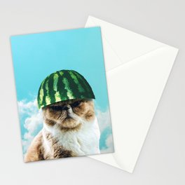 Cute Funny Watermelon Cat Stationery Cards