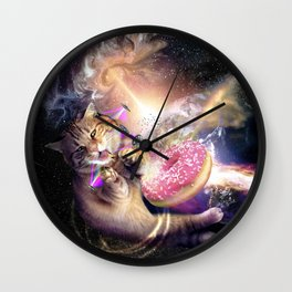 Galaxy Space Cat Reaching Donut With Laser Wall Clock