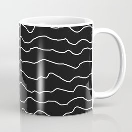 Black with White Squiggly Lines Coffee Mug
