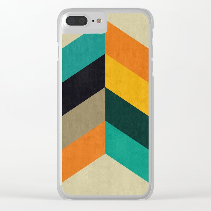 Minimalist and colorful chevron Clear iPhone Case