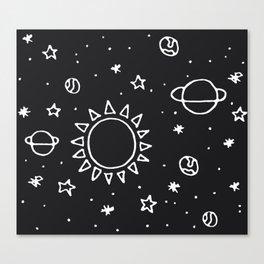 Planets Hand Drawn Canvas Print