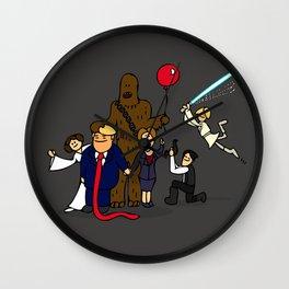 drawing of Trump, Hillary, 2 boys, 1 girl, and a dog Wall Clock