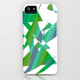geometrical abstract shapes of green and blue iPhone Case