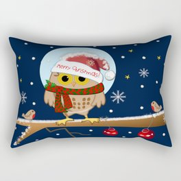 Owl's Christmas in a snowy world Rectangular Pillow