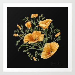 California Poppies on Charcoal Black Art Print