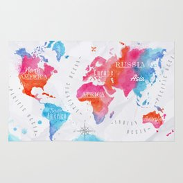 Watercolor World Map Rug