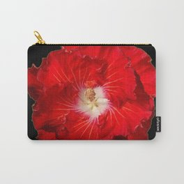 Tropical Red Hibiscus Flower on Black Carry-All Pouch