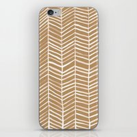 herringbone iPhone & iPod Skins featuring Kraft Herringbone by Cat Coquillette