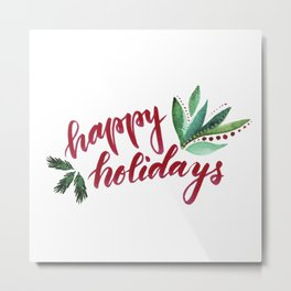 Happy Holidays - red and green Metal Print