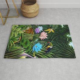 Classical Masterpiece 'Tropical Birds and Flying Things' by Henry Rousseau Rug