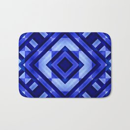 Blue Geometric Abstract  Bath Mat