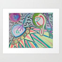 """ALIEN SNATCH"" (7001) - FLUORESCENT/GLOWS IN BLACKLIGHT Art Print"