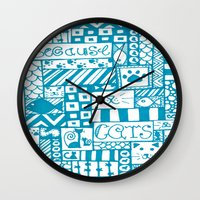 because cats Wall Clocks featuring Because Cats by Lizzy East