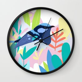 Superb Fairy-Wren Bird in the Garden Wall Clock