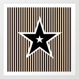 The Greatest Star! Black and Cream Art Print