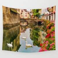 france Wall Tapestries featuring Annecy France by Jean-Pierre Ducondi