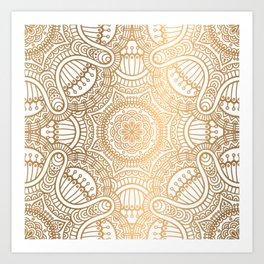 Gold Ethnic Pattern With Mandalas Art Print