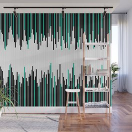 Frequency Line, Vertical Staggered Black, Gray & Teal Line Digital Illustration Wall Mural