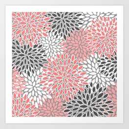 🤍 Floral Prints, Coral, Gray and White, Abstract Art Art Print