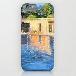 Sir John Lavery - A blue swimming pool at Cannes - Digital Remastered Edition iPhone Case