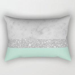 White Marble Mint Silver Glitter Stripe Glam #1 #minimal #decor #art #society6 Rectangular Pillow
