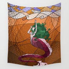 Primeval Mermaid (orange) Wall Tapestry