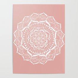 White Flower Mandala on Rose Gold Poster