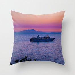 Cruise Ship at dusk Throw Pillow
