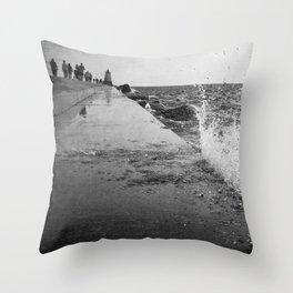 Lake Michigan Breakwater Splash Throw Pillow