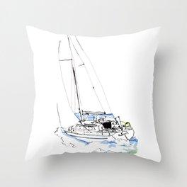 Cirrus/ Sailingboat Throw Pillow