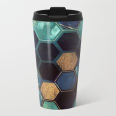 Blue & Gold Metal Travel Mug