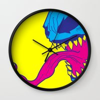 venom Wall Clocks featuring Venom. by Hussein Ibrahim