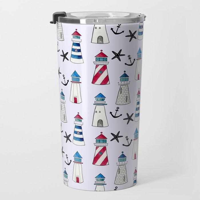 Watercolor Lighthouses Travel Mug