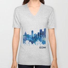 Edmonton Canada Skyline Blue Unisex V-Neck