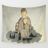 sherlock holmes Wall Tapestries featuring Sherlock Holmes boxing by juliusllopis