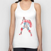 steve rogers Tank Tops featuring Steve Rogers (CA) - Black Background by MajesticSeahawk Designs