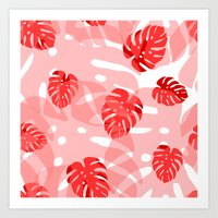 red monstera Art Print