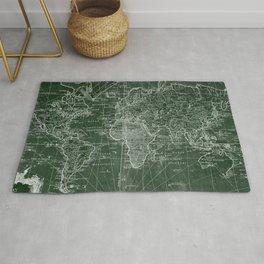 World Map (1778) Green & White Rug
