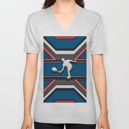 Blue and Coral Tennis Player Sports Design Unisex V-Neck