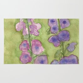 Hollyhock Foxglove Watercolor Muted Tones Rug