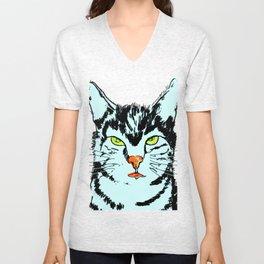Cat in blue  Unisex V-Neck